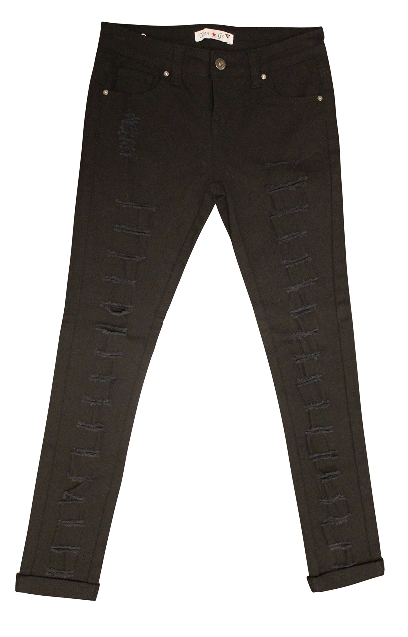 Teen G's Jeans and Twill for Girls by Skinny Jeans for Girls with Ripped Denim and Distressed Stretch Fabric Slim Fit Pants,kp33 (16, Black) by Teen G's (Image #1)