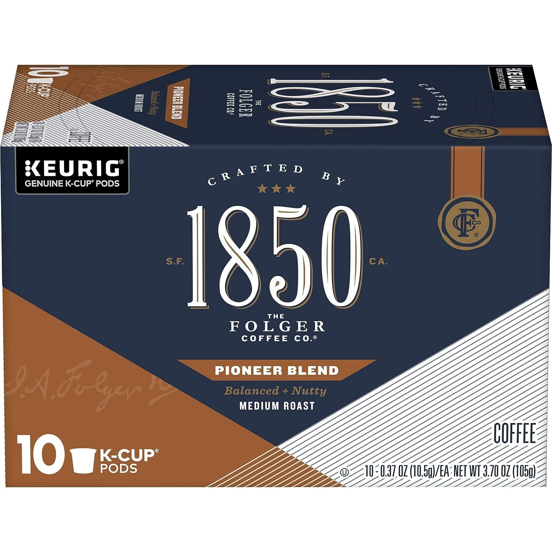 1850 by Folgers Coffee Pioneer Blend Medium Roast Coffee, 10 K Cups for Keurig Coffee Makers