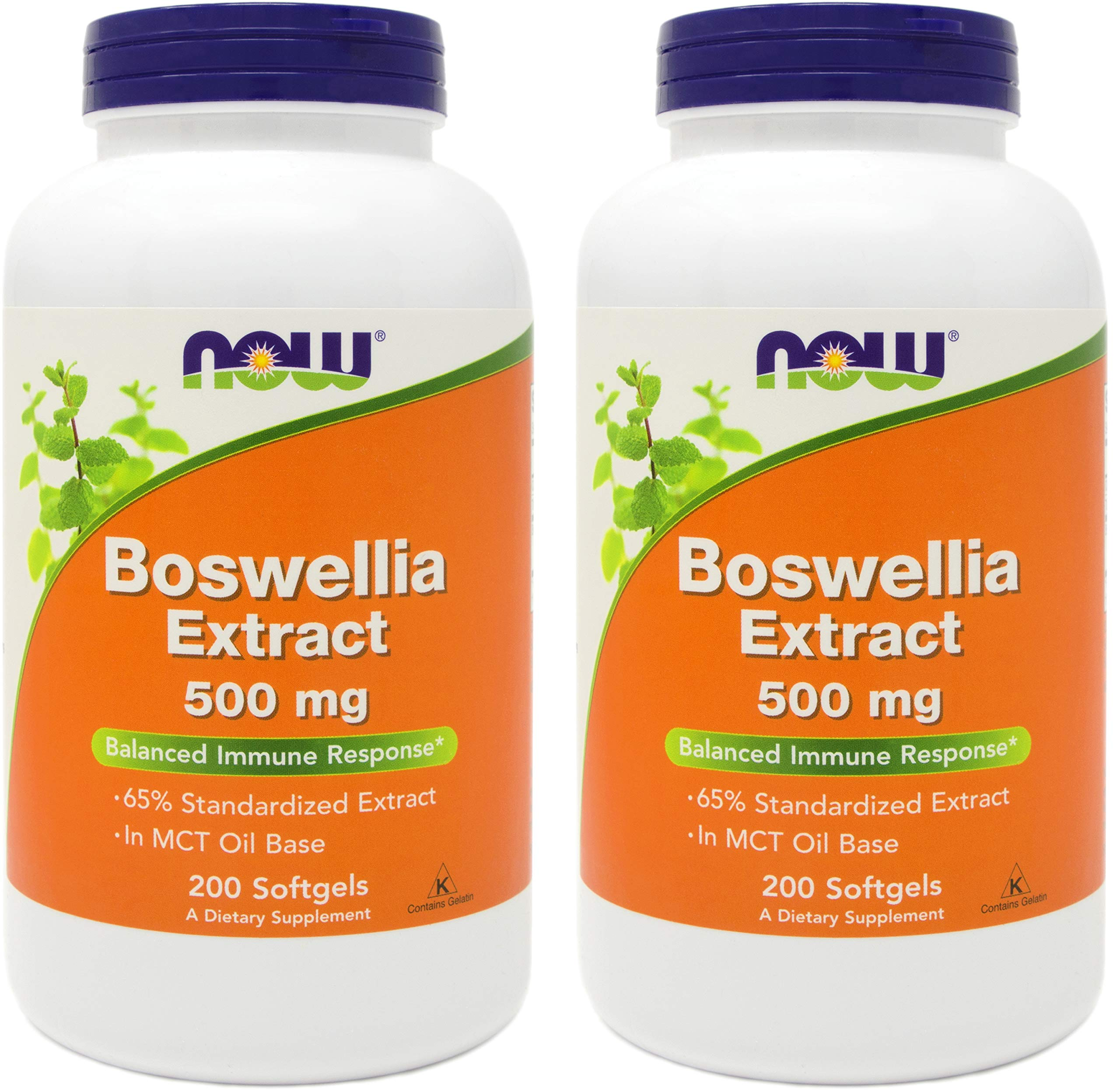 Now Boswellia Serrata Extract 500 mg, 200 Softgels (Pack of 2) - Tree Gum Resin in MCT Oil Base - Herbal Supplement by NOW Foods