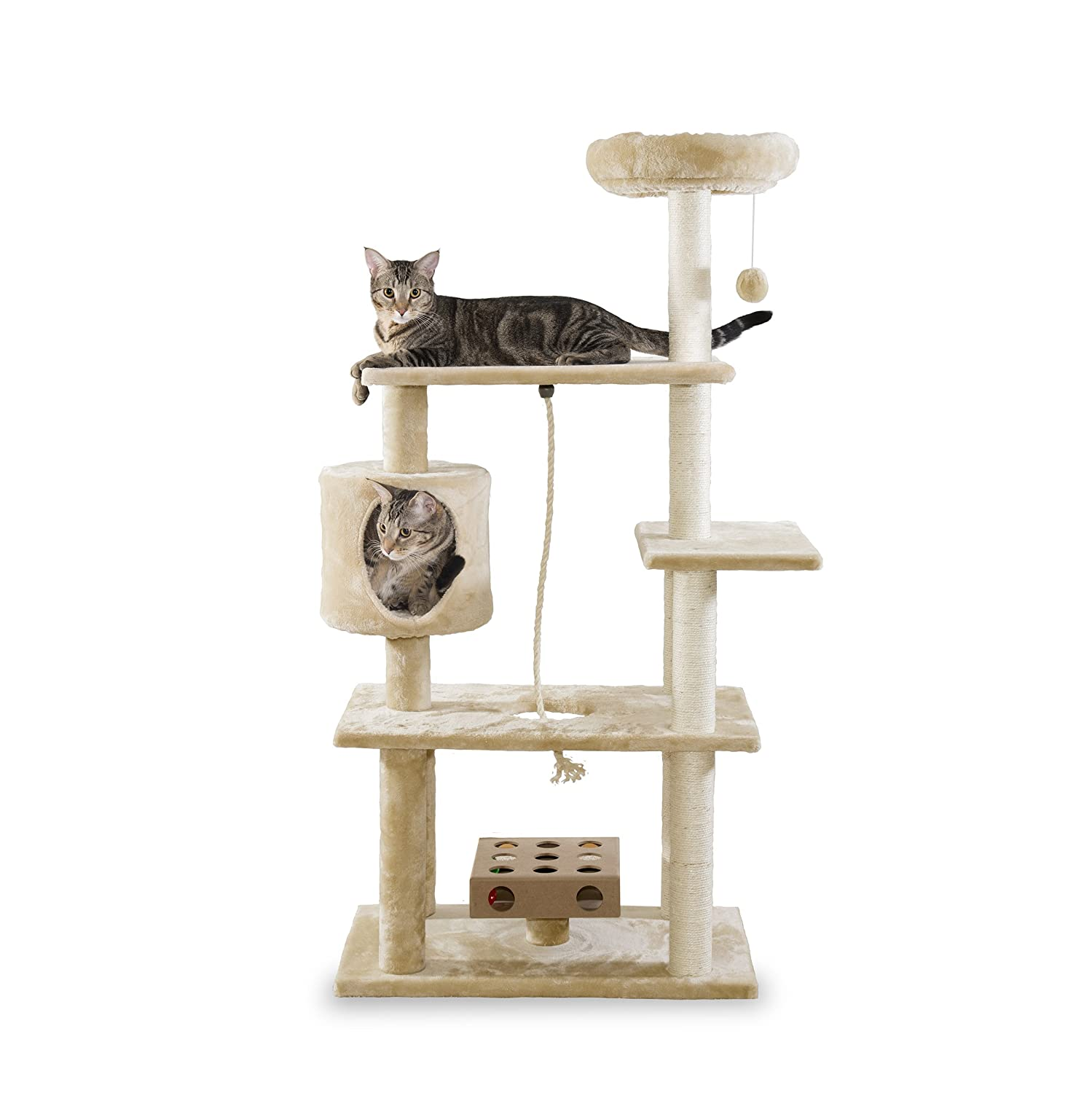 Deluxe Playground Cream Furhaven Pet Deluxe Cat Tree Playground with Cat-IQ Toy