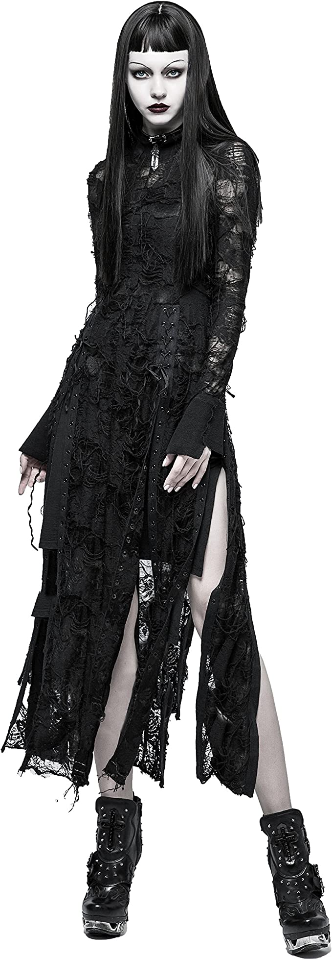 PUNK RAVE Gothic strapless slim dress with rope necklace Self-cultivation design