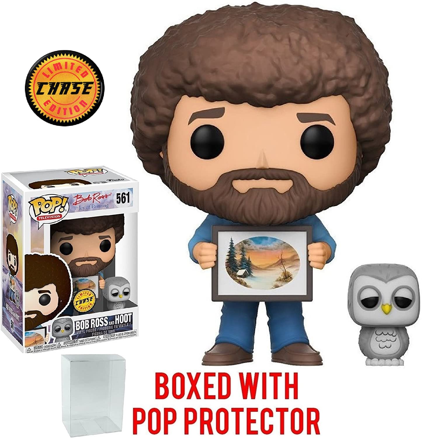 Funko Pop TV:Bob Ross The Joy of Painting Bob Ross /& Hoot CHASE LIMITED EDITION