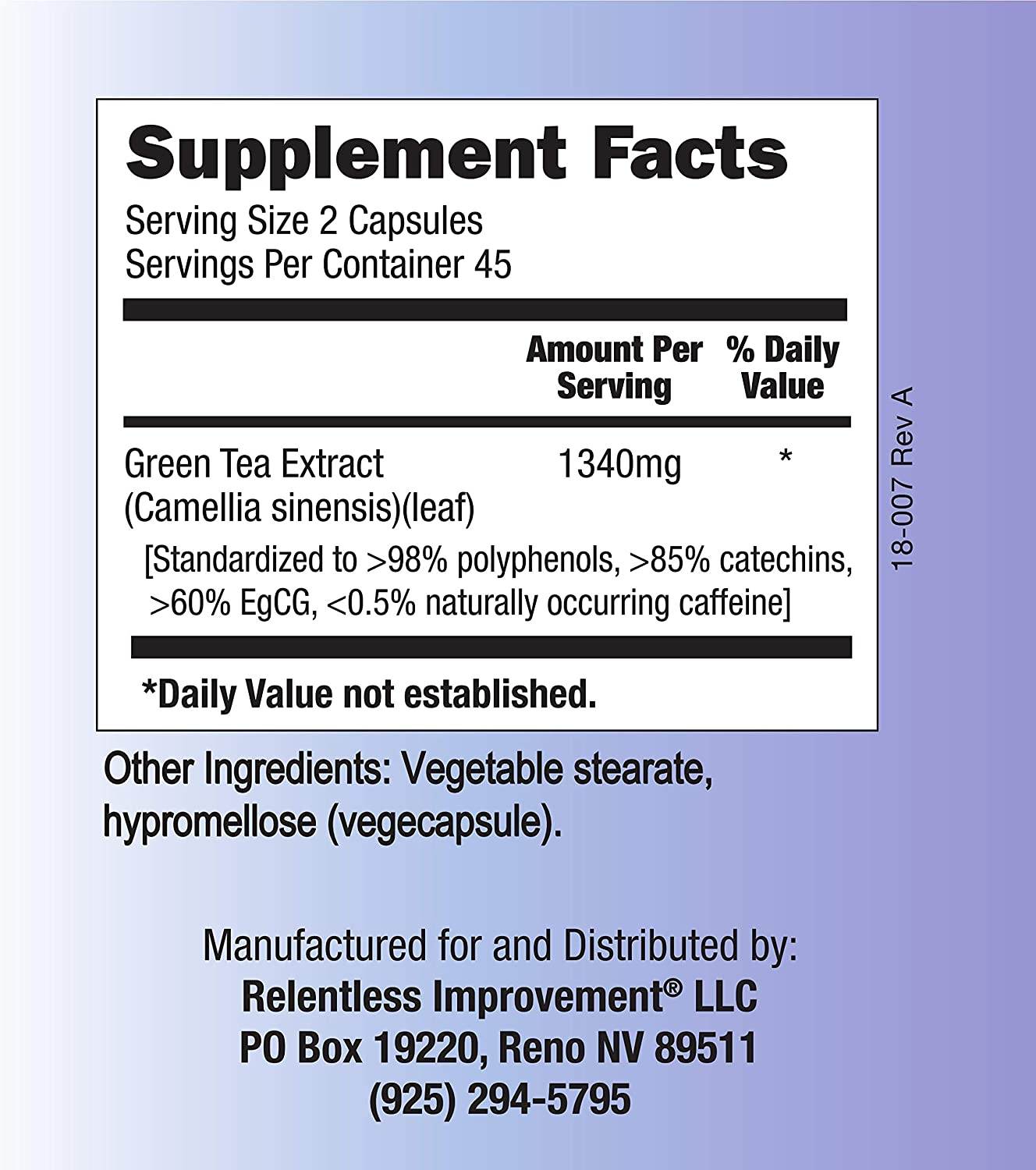 Relentless Improvement EGCG Green Tea Extract 670mg Extract Per Capsule Standardized to 98%+Polyphenols 60% EgCG Very Low Caffeine Zinc Ionophore: Health & Personal Care