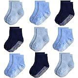 Anti Slip Infant&Toddler Grip Socks, Non Skid Baby Crew Socks for Boys&Girls, 9 Pairs