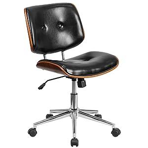 Flash Furniture Low Back Black Leather Ergonomic Wood Swivel Task Office Chair