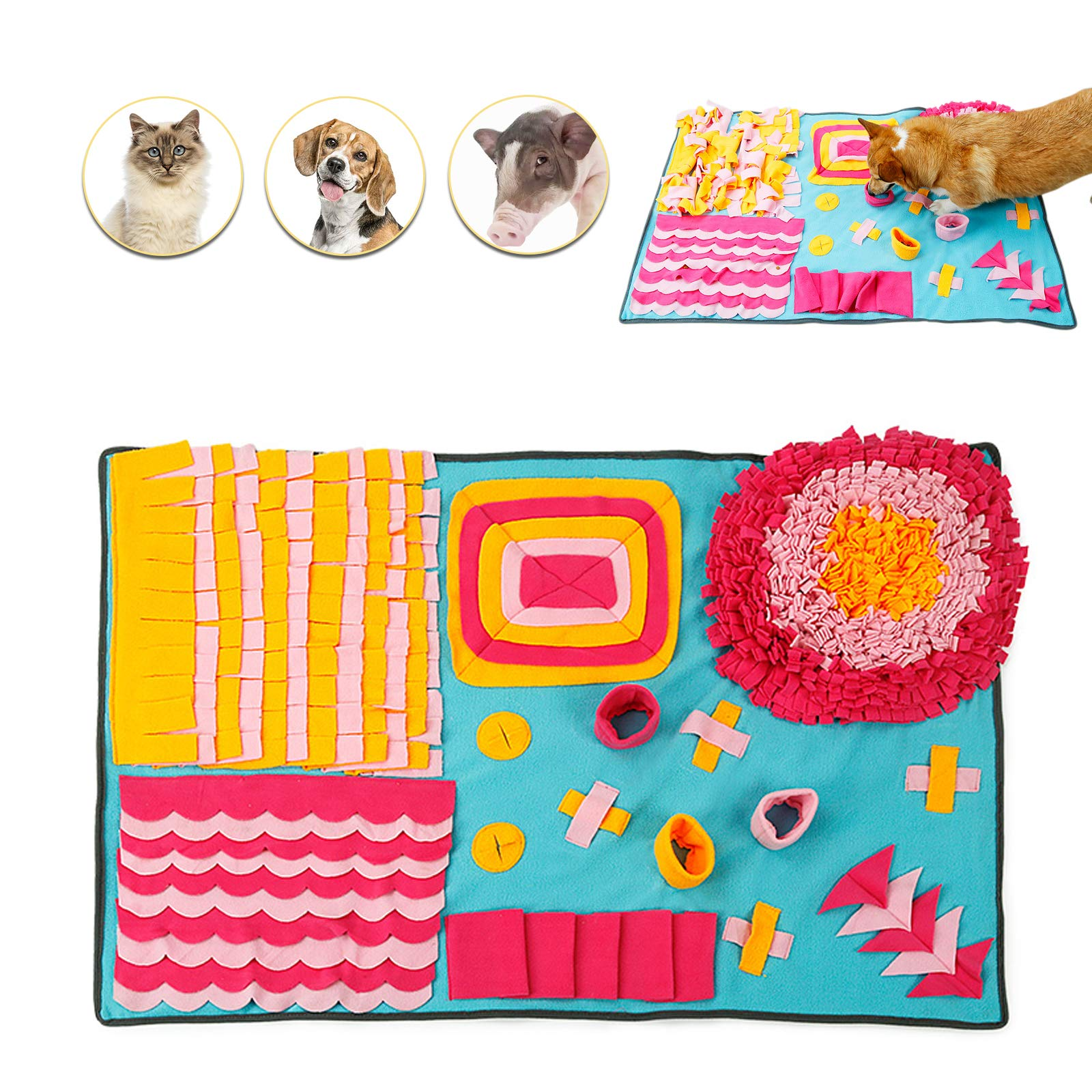Petvins Dog Snuffle Mat Treat Blanket, Pet Puzzle Activity Mat for Stress Release, Nose Work Mat for Slow Feeding and Foraging Training Colorful by Petvins