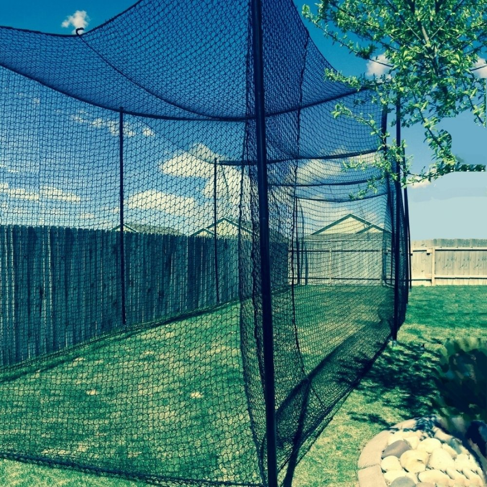 10' High X 10' Wide X 60' Long Batting Cage Net, #36 Polypro Netting, Rope Bordered with Door by Gourock