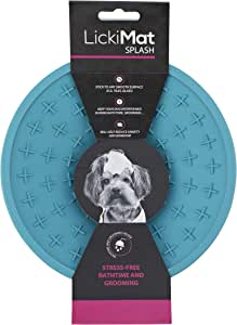 Lickimat Real Rubber Wall Lick Pad for Bathing & Grooming, Blue One Size