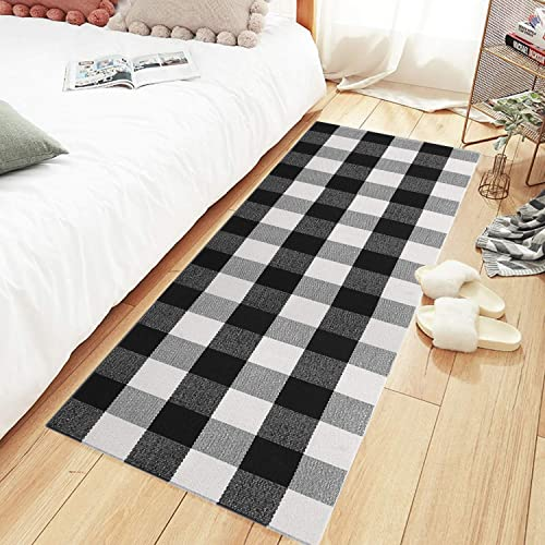 MUBIN Buffalo Plaid Check Runner Rug Reversible 2 x 6 ft Cotton Black and White Checkered Washable Rug