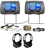 Rockville RTSVD961-GR 9 Gray Touchscreen DVD/HDMI Headrest Monitors+Headphones