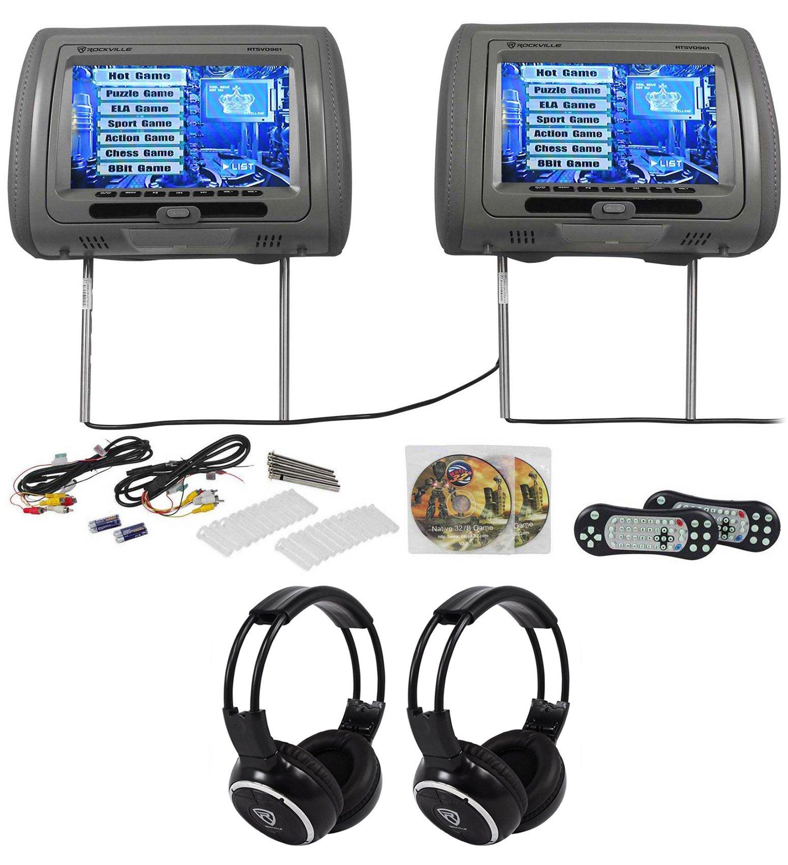 Rockville RTSVD961-GR 9 Gray Touchscreen DVD/HDMI Headrest Monitors+Headphones by Rockville (Image #1)