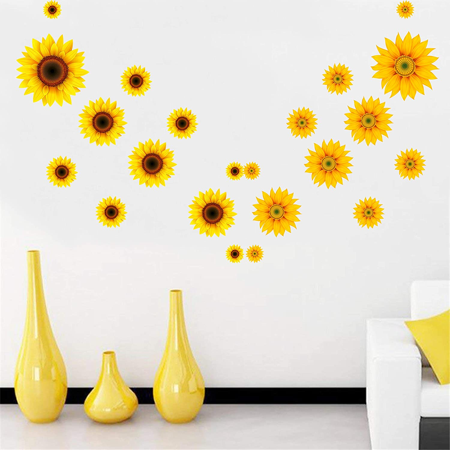 22pcs diy sunflower wall sticker 3d yellow flower wall decals peel and stick removable wall art decor nursery daisy floral stickers for kids baby