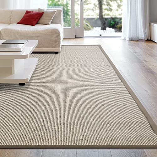iCustomRug Zara Synthetic Sisal Collection Area Rug and Custom Size Runners, Softer Than Natural Sisal Rug, Stain Resistant Easy to Clean Beautiful Border Rug in Beige 5 x 8