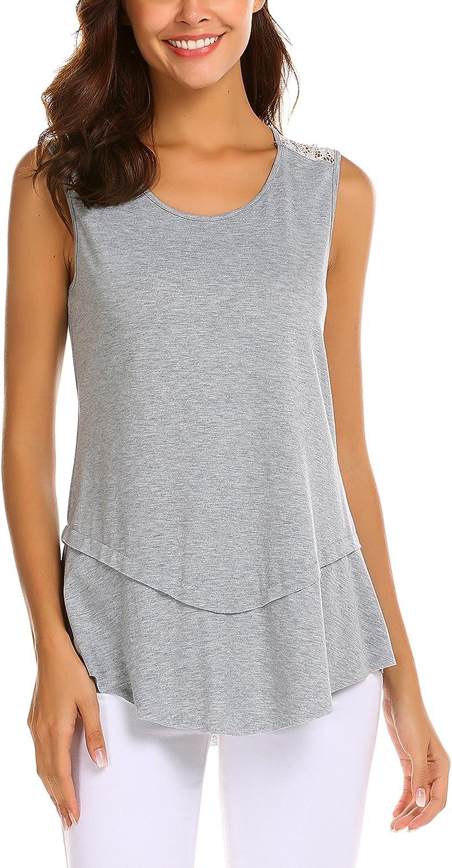 FineFolk Sleeveless Swing Tunic Summer Casual Lace Vest Sleeveless Tank Tops for Women