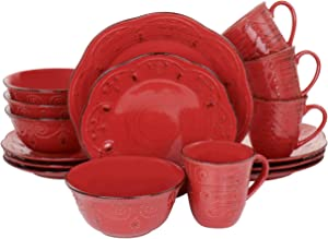 Elama Embossed Scalloped Round Stoneware Dinnerware Dish Set, 16 Piece, Red with Brown Accents