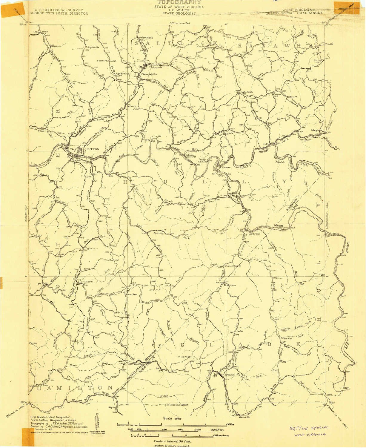 YellowMaps Sutton WV topo map 15 X 15 Minute Historical 1:48000 Scale 27 x 22.1 in 1908
