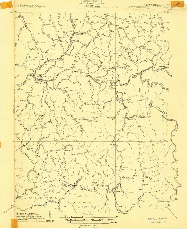 Amazon.com: YellowMaps Sutton WV topo map, 1:48000 Scale, 15 ...