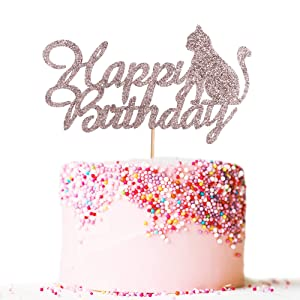 Artczlay Happy Birthday Cake Topper Rose Gold Glitter Cat Cake Topper Cat Theme Birthday Party Cake Decoration