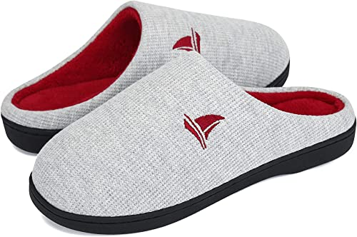 Women Gray and Red Two Tone Memory Foam Comfy Indoor Outdoor Slippers Size 9-10