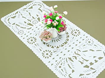 White Papel Picado Table Runner, Mexican Wedding Decorations, Fiesta Party  Supplies 20x39 Inches