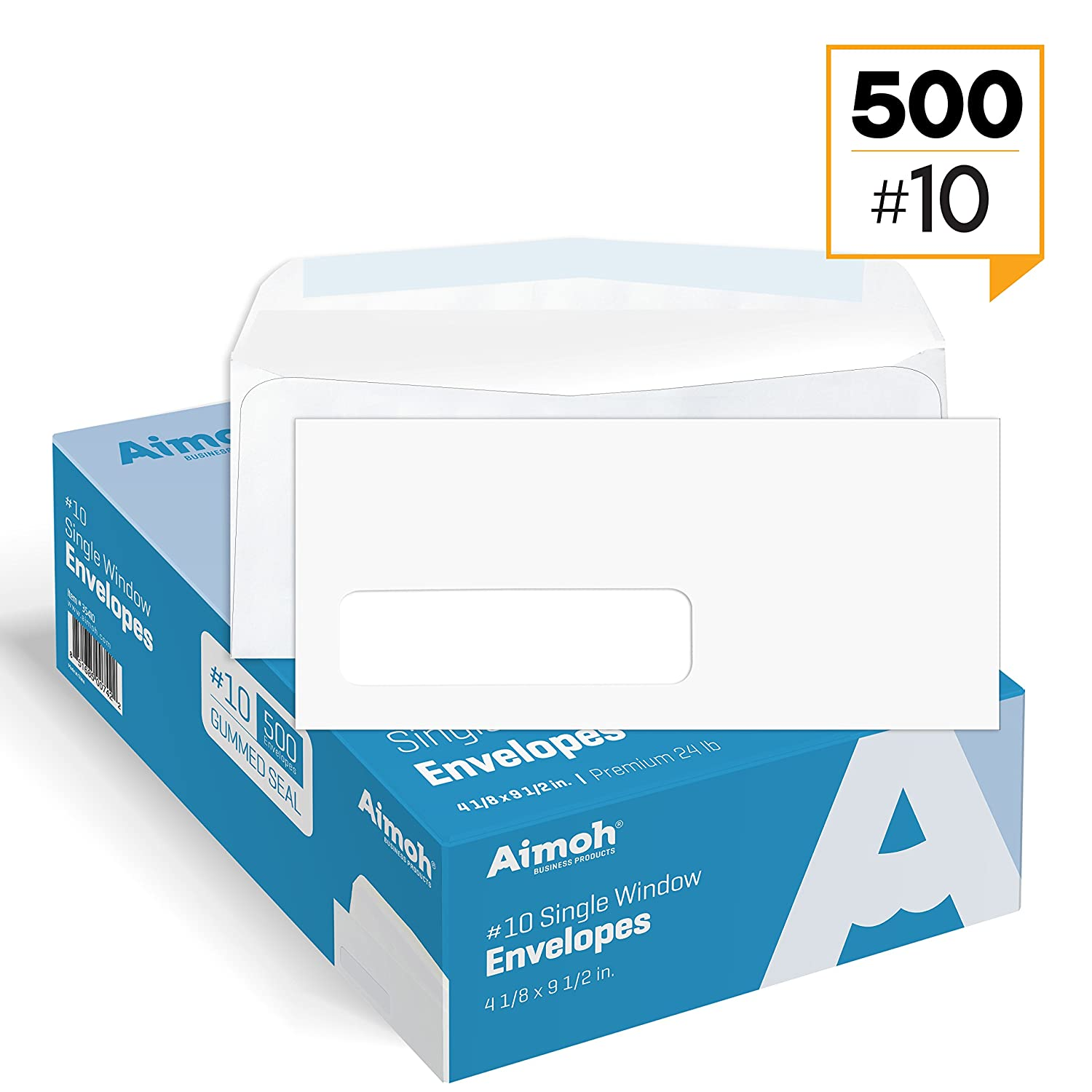 #10 Single Left Window Security Tinted Envelopes, Gummed Closure, Size 4-1/8 X 9-1/2 inches, 24 LB - 500 Count (35310) Aimoh