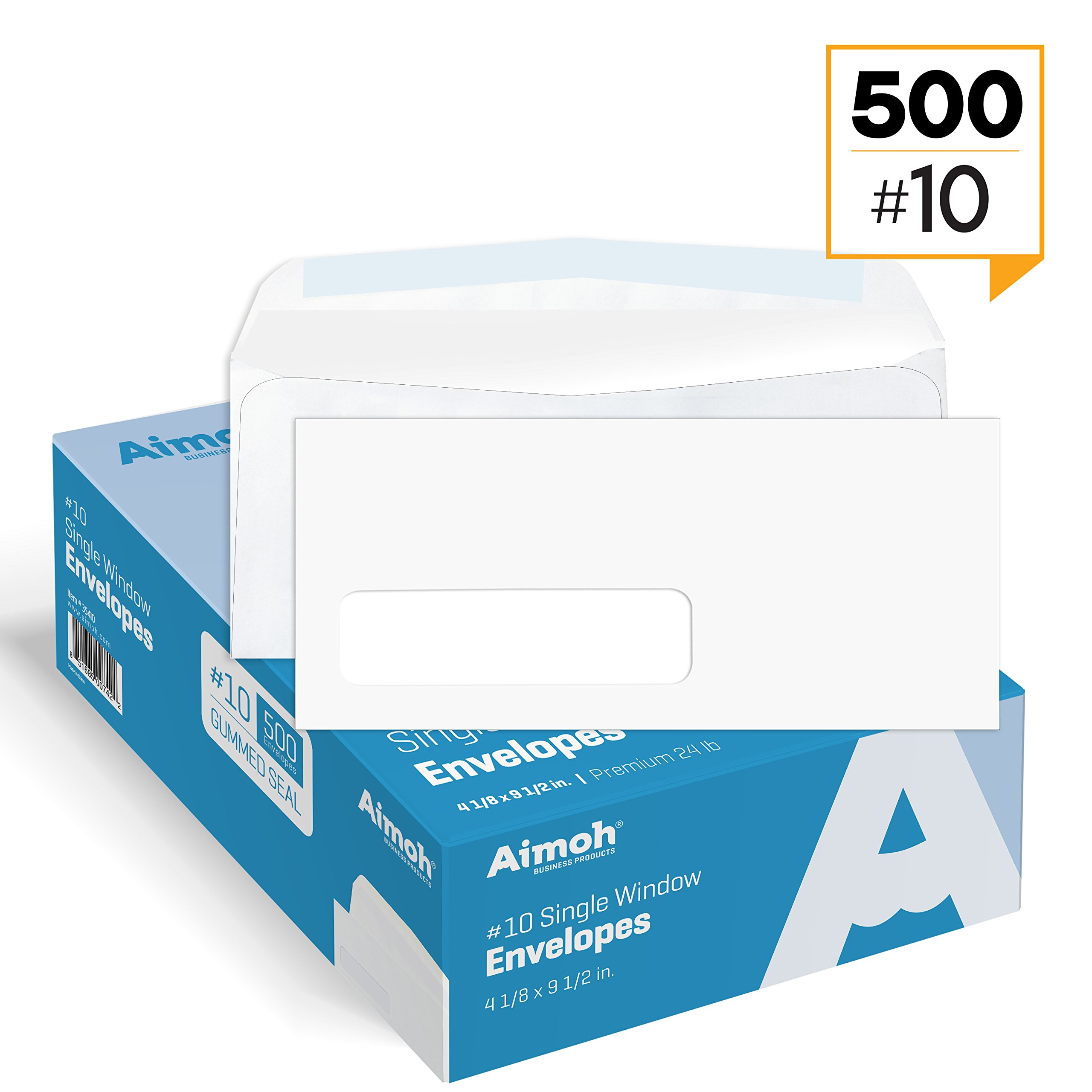 #10 Single Left Window Security Tinted Envelopes, Gummed Closure, Size 4-1/8 X 9-1/2 inches, 24 LB - 500 Count (35310)