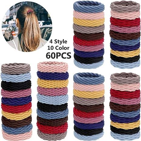 Pack of 60 Hairband Snag Free Hair Elastics Pony Tail Multi Colour Stretchy UK