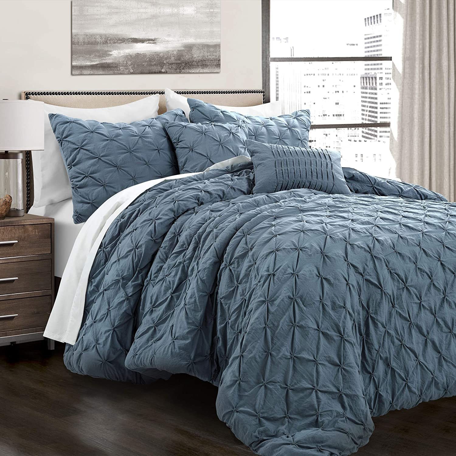 Lush Decor Stormy Blue Ravello Shabby Chic Style Pintuck 5 Piece Comforter Set with Pillow Shams, King