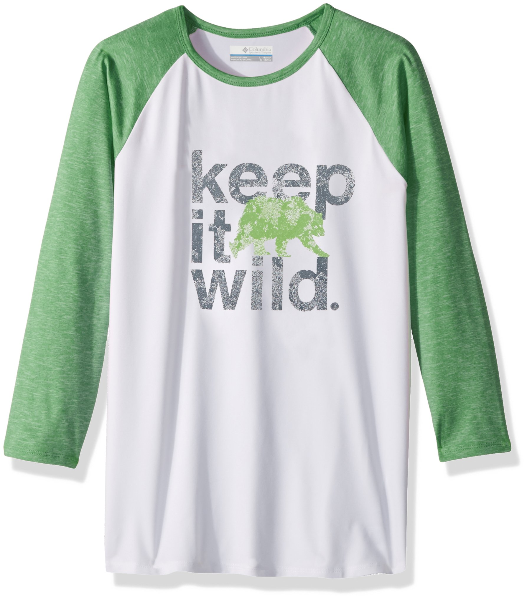 Columbia Boys Outdoor Elements 3/4 Sleeve Shirt, Fuse Green Wild Graphic, X-Small by Columbia