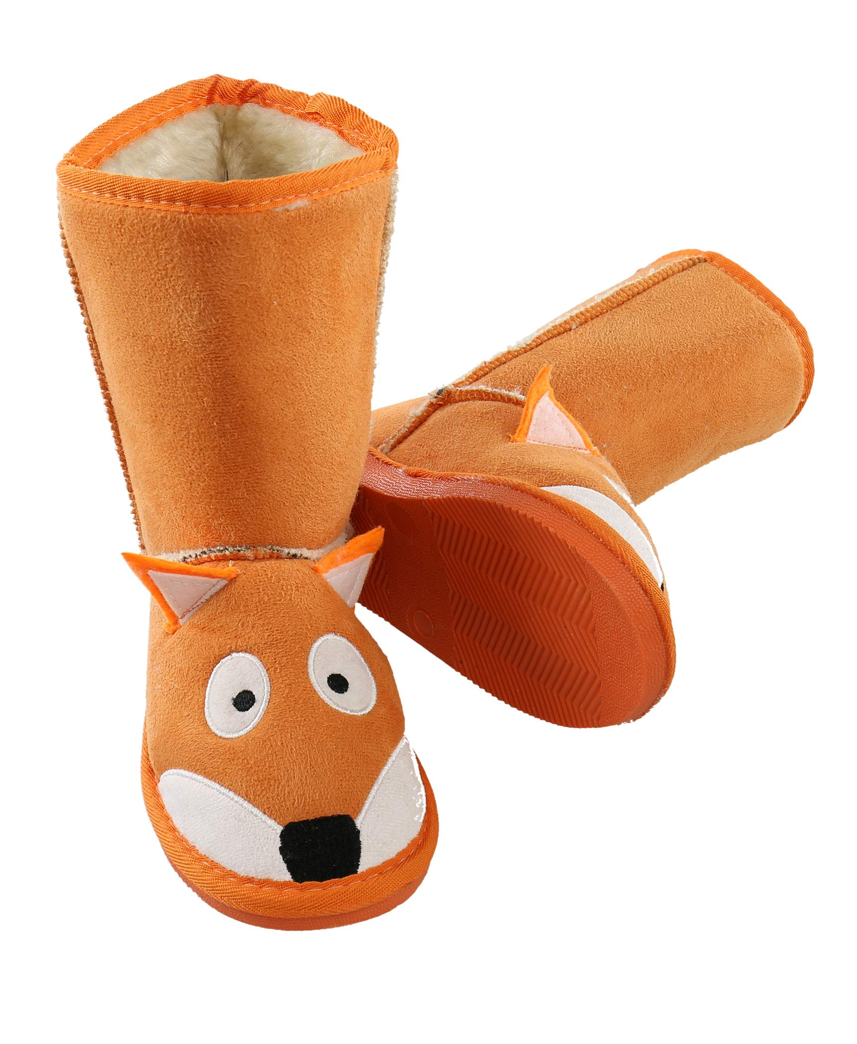 Fox Toasty Toez Cute Animal Character Slippers for Kids by LazyOne | Boys and Girls Creature Slipper Boots (Medium)
