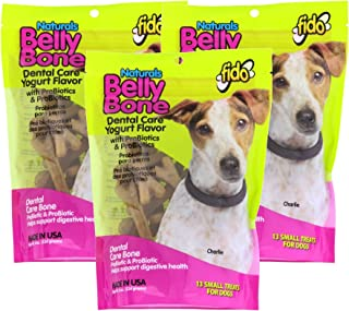 product image for Fido Dental Care Belly Bones for Dogs, Yogurt Flavor - 13 Small Treats Per Pack, Pack of 3 - Safely Digestible Chew that Promotes Plaque and Tartar Control-Helps to Support Your Dog's Digestive Health