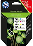 HP 950 - 951XL - Pack de ahorro de 4 cartuchos de tinta Original HP 950XL Negro, 951XL Cian, Magenta, Amarillo para HP OfficeJet Pro 251dw, 276dw, 8100, 8600, 8600 Plus, 8610, 8615, 8620