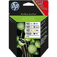 HP 950XL/951XL Pack de 4 Cartouches d'Encre Noire/Cyan/Magenta/Jaune Grande Capacité Authentiques (C2P43AE)