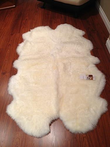 Quad Sheepskin Pelt Rug 4 x 6 from Bowron New Zealand Natural White Black