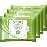 Simple Kind to Skin Cleansing Wipes Gentle and Effective Makeup Remover Exfoliating Free from color and dye, artificial perfu