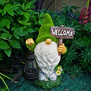 OYANARNAR Flocked Garden Gnome Statue,Resin Gnome Figurines Holding Welcome Sign with Solar LED Lights, Outdoor Statues Garden Decor for Patio Yard Porch, Lawn Ornament Gifts (Resin-2)
