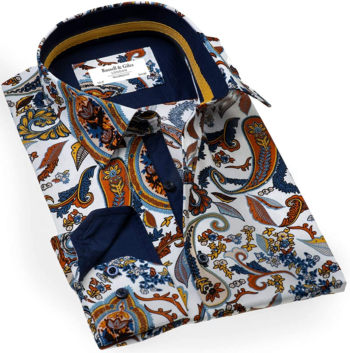 Russell & Giles Mens Pure Cotton Designer Paisley Patterned Shirt