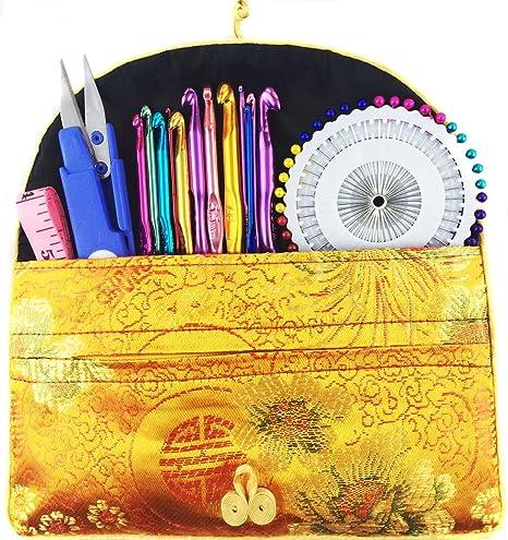 Ganchillo Ganchos Aguja Set de tejer kit, 79pcs Colorful Aluminio agujas de tejer tejido hilo tejer ...