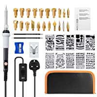 Wood Burning Kit, 40 Pcs Soldering Iron Set Adjustable Temperature With Pyrography Wood burning Pen, 20 x Assorted Wood Burning & Soldering Tips, 10 x Stencil, 2 x Pencils, 2 x Tweezers, 1 x Holder