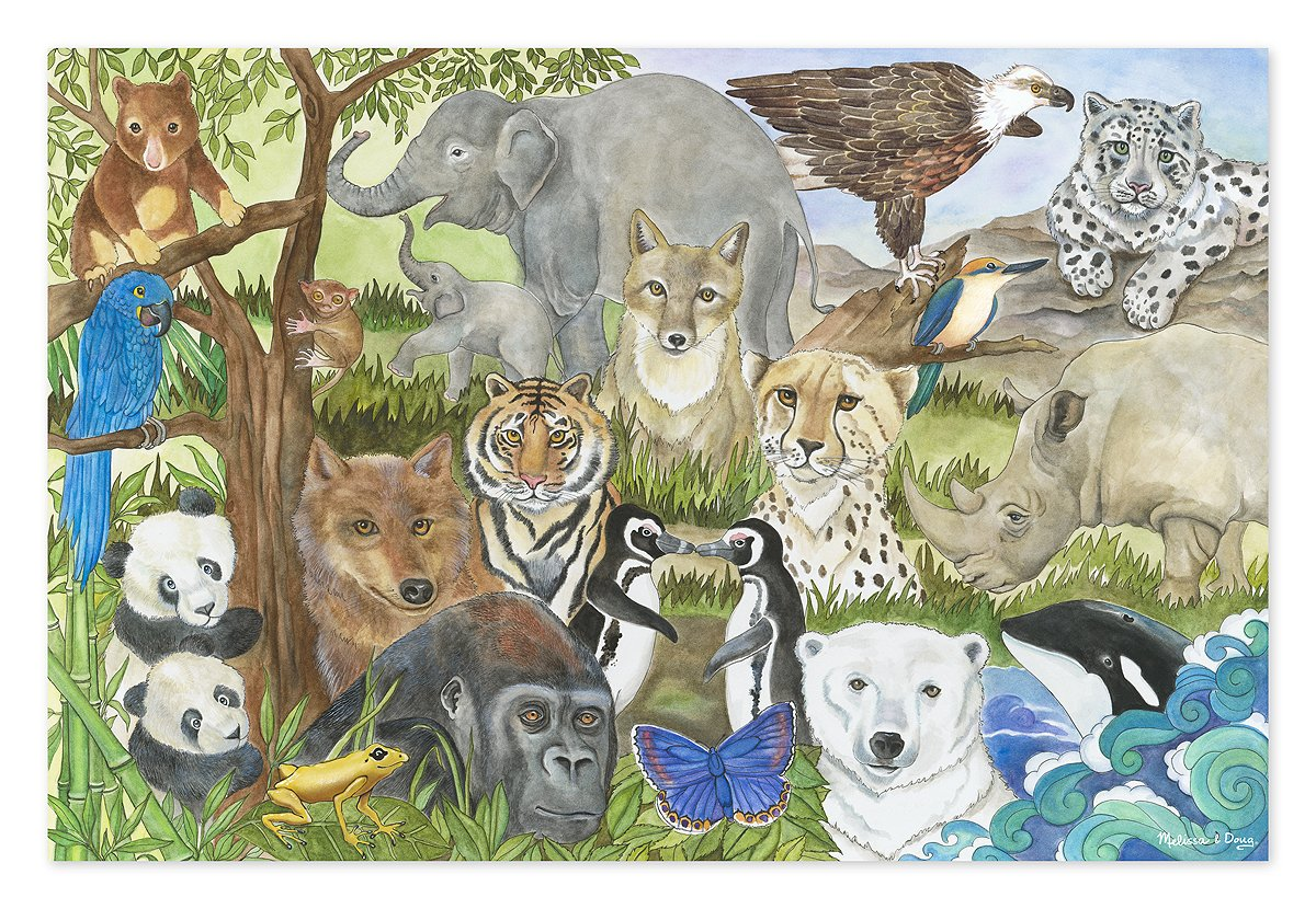Melissa & Doug Endangered Species Floor Puzzle (Easy-Clean Surface, Promotes Hand-Eye Coordination, 48 Pieces, 24'' L x 36'' W) by Melissa & Doug