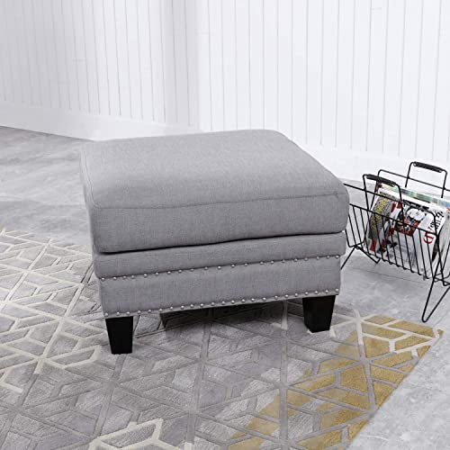 PatioFestival Footstool Ottoman Square Accents Wooden Rivet Linen Fabric Modern Household Change Shoe Bench Sofa