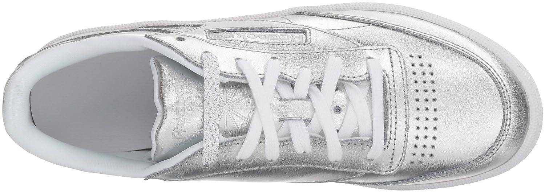 Reebok Women's Club C 85 S Shine Sneaker B072JNLZ36 7 B(M) US|Silver/White