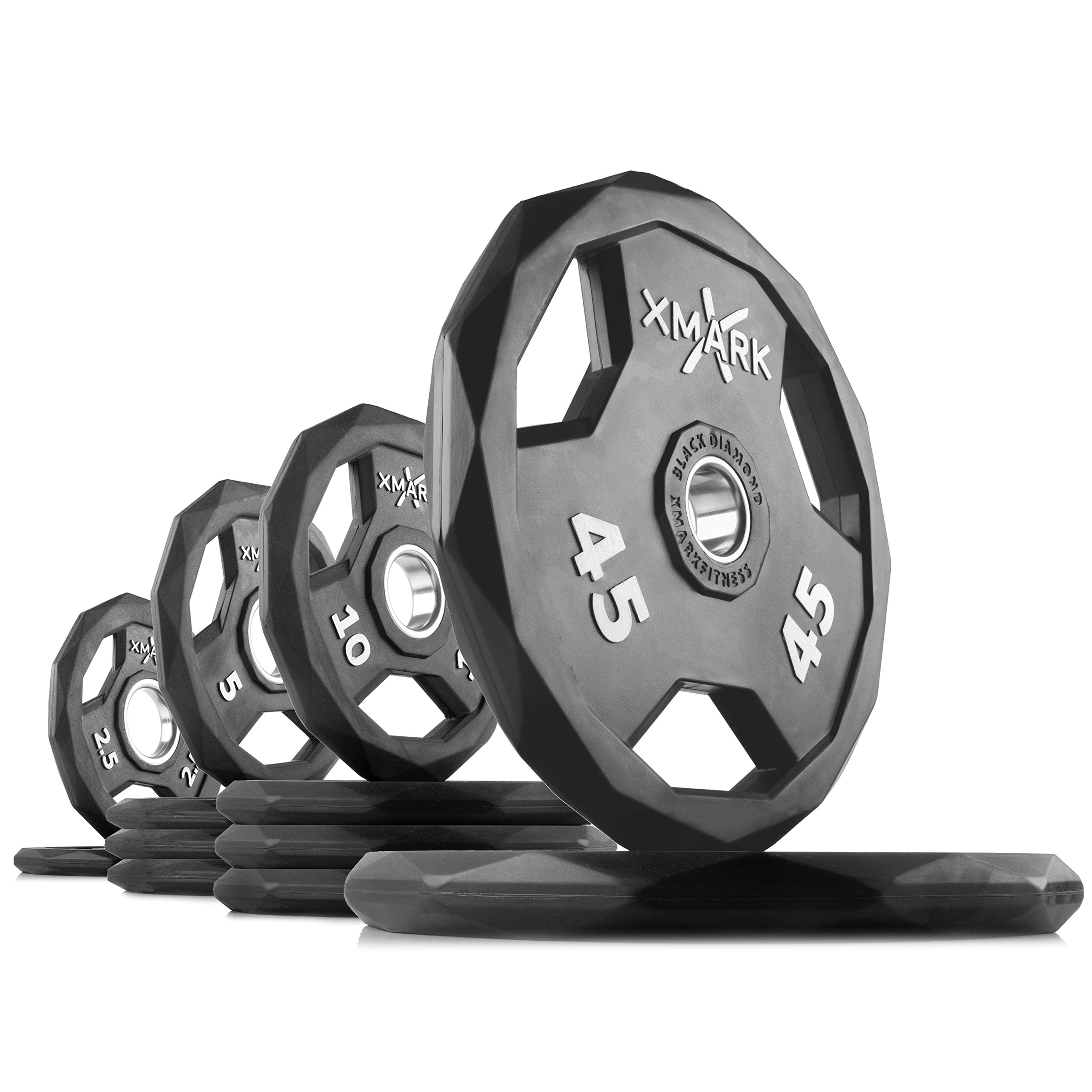XMark Black Diamond 155 lb Set Olympic Weight Plates, One-Year Warranty, Patented Design