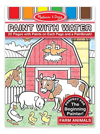 melissa doug paint with water farm animals 20 perforated pages spillproof palettes