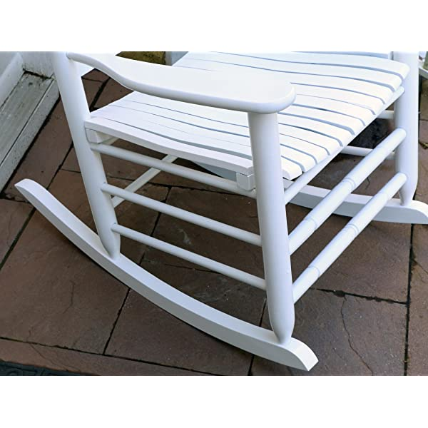 "LIFE Home Oliver and Smith - Nashville Collection - Heavy Duty Wooden White Patio Porch Rocker- Rocking Chair - Made in USA - 26"" W x 34"" D x 47"" H - 400 LBS"