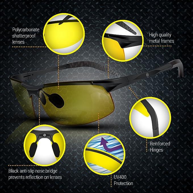 Knight Visor - gafas polarizadas antirreflejos HD visión nocturna para conducción – gafas de sol de protección para deporte bicicleta motoristas– con ...