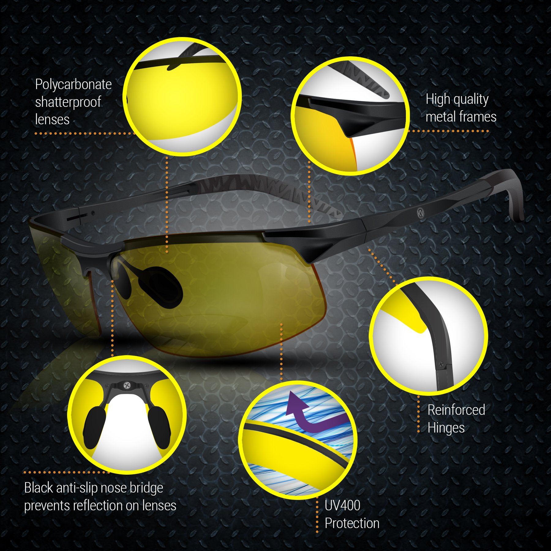 BLUPOND Night Driving Glasses - Semi Polarized Yellow Tint HD Vision Anti Glare Lens - Unbreakable Metal Frame with Car Clip Holder - Knight Visor (BlackCase) by BLUPOND (Image #6)