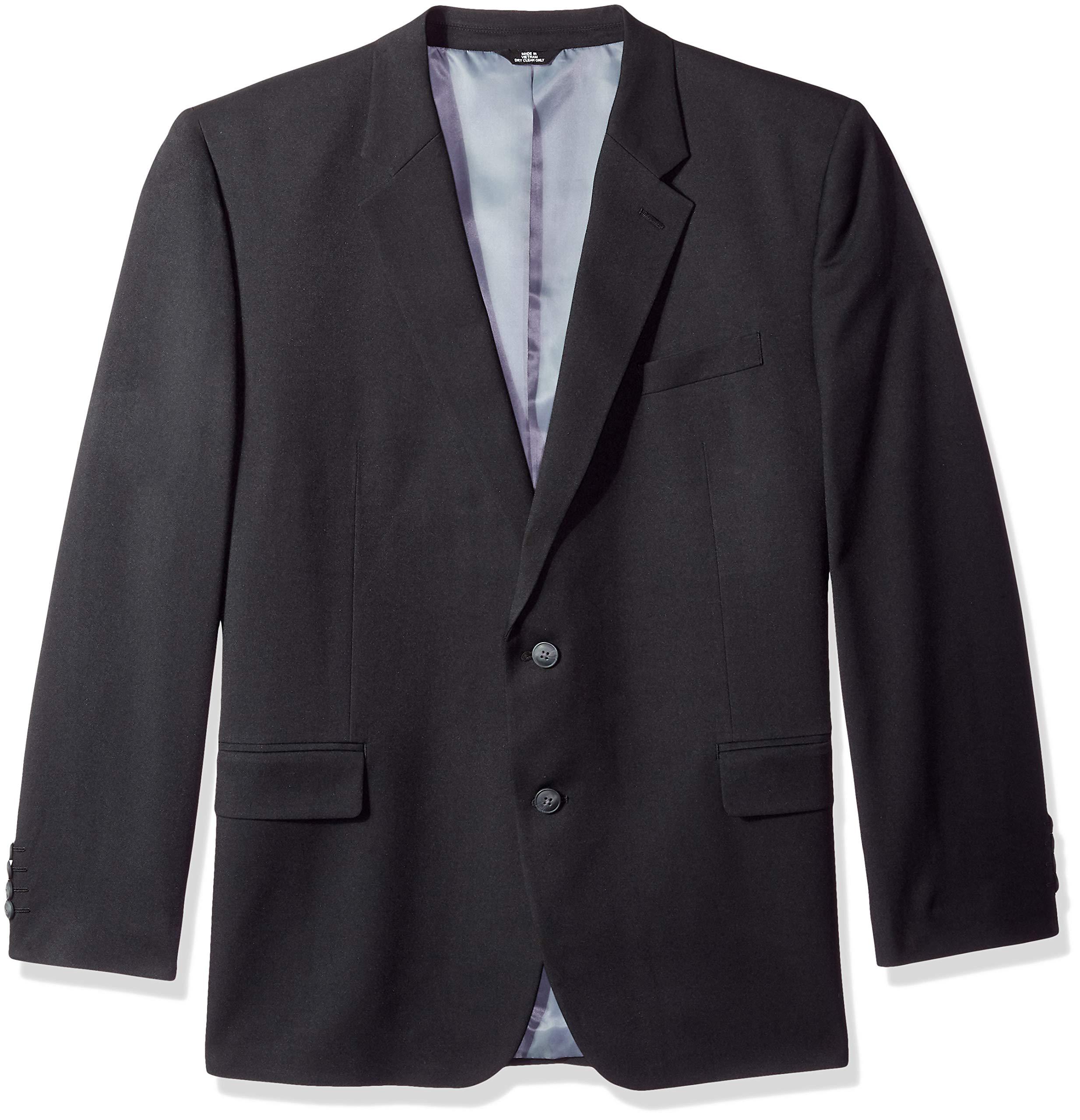 Haggar Men's Big and Tall B&T Heather Twill Stretch Classic Fit Suit Separate Coat, Black, 50L
