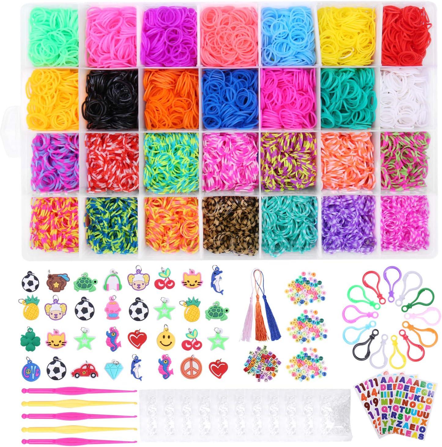 Tintec Caja para Hacer Pulseras, Gomitas 10000Pcs Gomitas Elásticas Plásticas (28 Colores) para Hacer Pulseras Anillos Collares de Bricolaje