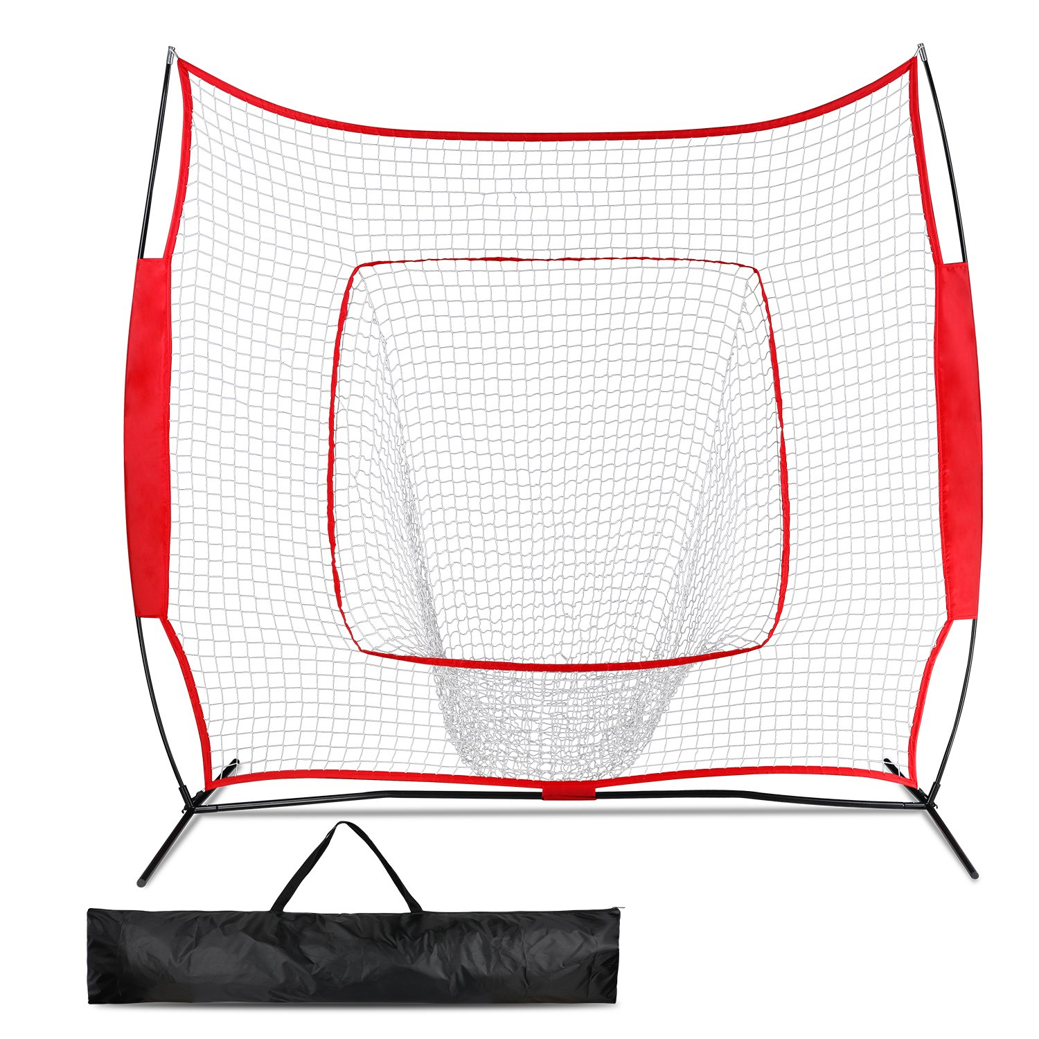 Promover Baseball Softball Practice Net 7' x 7' with Bow Frame Carry Bag for Practice Hitting, Pitching, Batting, Fielding and Catching (Red) by Promover
